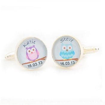 Owl Couple Cufflinks - Personalised Wedding Day Cufflinks - Gift For Groom